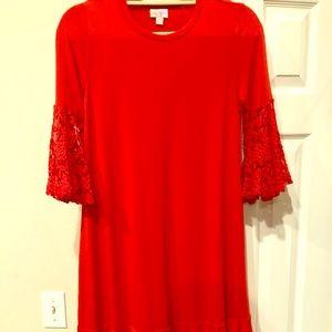 NWOT LulaRoe Maurine Dress XS red lace sleeves